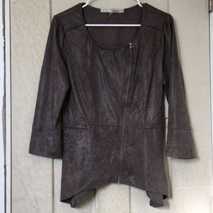 MIILLA Stylish Dark Grey/Brown Zip-Up Moto Jacket!